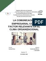 ensayo Comunicación Empresarial como factor relevante en el clima organizacional. Yaniela isabel Moreno