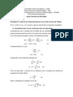 Exercício 1 - Variação do potencial químico de um gás real
