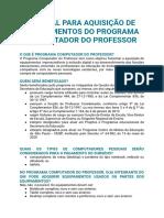 INFORMAÇÕES PROFESSOR CONECTADO