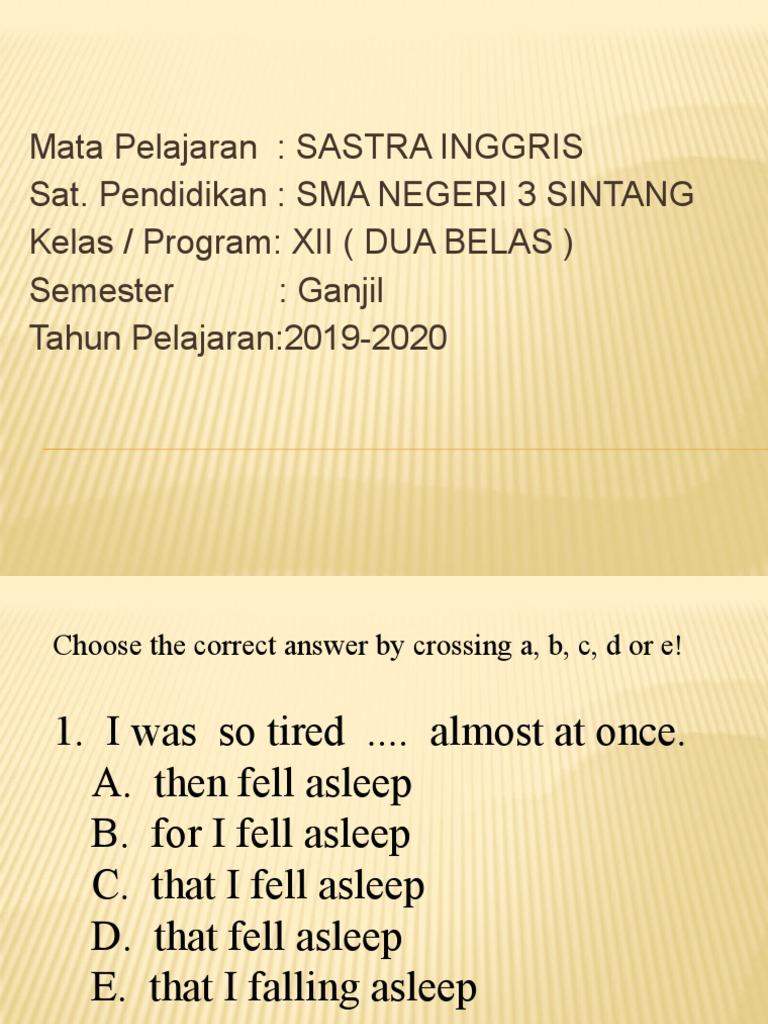 Sastra Inggris Kelas Xii 20 20 Ganjil   PDF