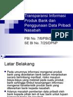 Transparansi Informasi Produk Bank Dan Penggunaan Data Pribadi