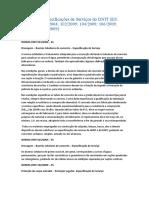 Resumo de Especificações de Serviços do DNIT