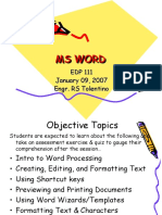 Microsoft Word Lecture