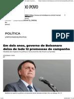 Em dois anos, governo de Bolsonaro deixa de lado 12 promessas de campanha