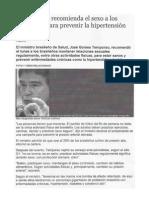Un ministro recomienda sexo a los brasileños para prevenir la hipertensión