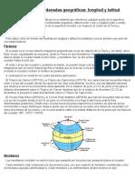 Sistema de Coordenadas Geográficas - Longitud y Latitud