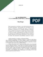 Peter Berger El Matrimonio y La Construcción de La Realidad