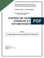 Billel Aouf- Le Thermique Pour La Production d'Électricité