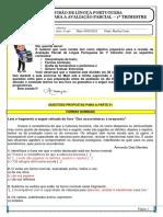 TD REVISÃO AV PARCIAL LP- TRIM 1 - GABARITO
