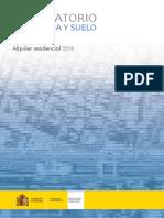 Observatorio de Vivienda y Suelo. Boletín Especial Alquiler residencial 2019