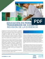 EDUCACIÓN EN PERSONA Y TRANSMISIÓN DE COVID-19