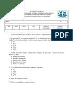 Questionário RP Aula2- Ligação iônica e tabela periódica