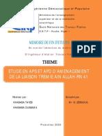 Etude en Aps Et Apd d'Amenagement de La Liaison Tremie Ain Allah-rn41