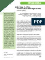 Stratégie de dépistage et critères diagnostiques du diabète gestationnel