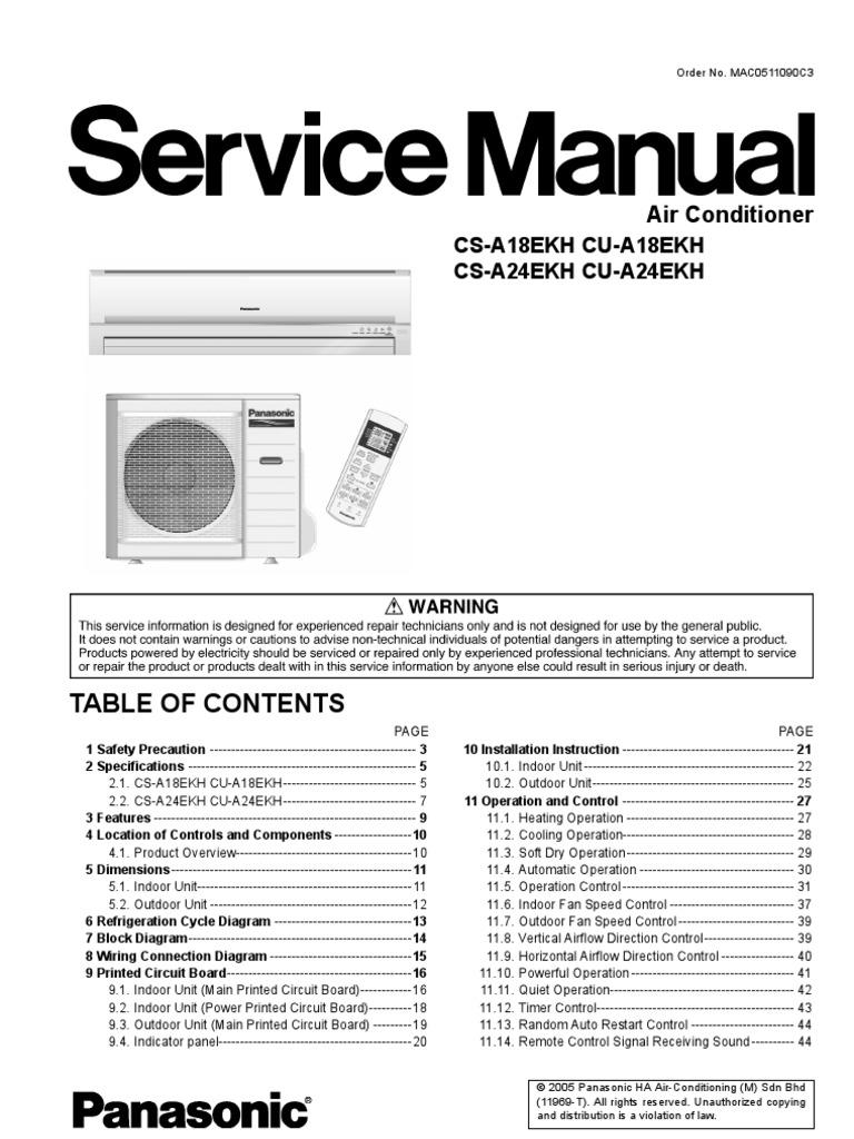 Panasonic Cs A18ekh A24ekh Cu Air Conditioners Service Repair Manual Free  Conditioning Hvac