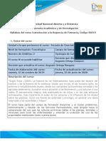 Syllabus del curso Introduccion a la Regencia de Farmacia