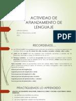 ACTIVIDAD DE AFIANZAMIENTO pronombre y verbo