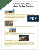 LES Monuments Tunisiens Les Plus Appréciés Par Les Touristes