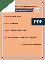 TAREA PREGUNTAS VAORES DE A LITERATURA