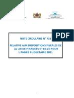 circulaire N°731 relatives aux dispositions fiscales de la loi de finances pour l'annee budgetaire 2021