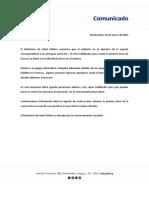 Comunicado Sobre Apertura de Agenda 16.03.2021