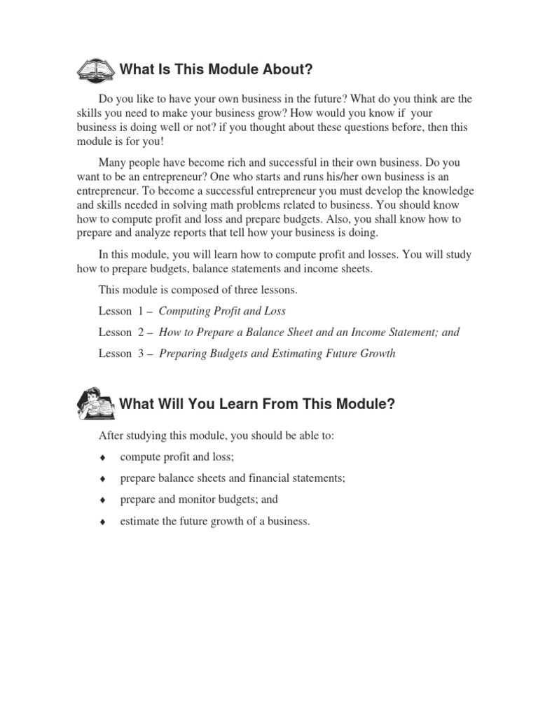 business math 2 balance sheet income statement