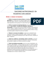 RECOMENDACIONES NUTRICIONALES  EN PACIENTES CON CANCER