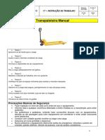 Instrução de trabalho - Paleteira manual