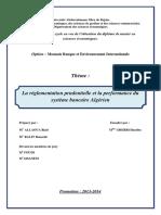 La Réglementation Prudentielle Et La Performance Du Système Bancaire Algérien