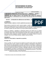 ATIVIDADES CIENCIAS 6ANO - BLOCO I