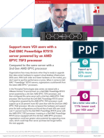 Support more VDI users with a Dell EMC PowerEdge R7515 server powered by an AMD EPYC 75F3 processor compared to the same server with a 2nd Gen AMD EPYC processor