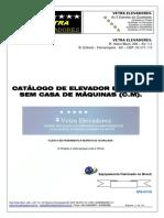 Catálogo de Elevador Elétrico Sem Casa de Máquinas