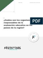 ¿Cuáles son los organismos responsables de la evaluación educativa en los países de la región_