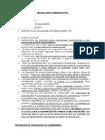 PROCESSO DE PRODUÇÃO DE COMPRIMIDO