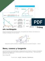 Triángulo rectángulonotables formulas