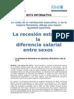 La recesión estrecha la diferencia salarial entre sexos