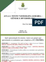 Slide da Aula 1 - Geografia Agrária - Gênese e Diversidade