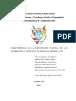 Características de la participación cultural de los miembros de la Asociación de Sordos de Arequipa, 2020