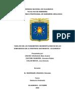 """""""ANÁLISIS DE LOS PARÁMETROS GEOMORFOLÓGICOS DE LAS SUBCUENCAS DE LA PROVINCIA SAN MARCOS - CAJAMARCA"""""""