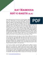 HADRAT MAIMOONA BINT-E-HARITH(R.A)