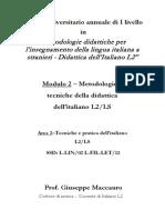 Modulo 2 - Area 2 - Tecniche e pratiche dellItaliano L2-LS