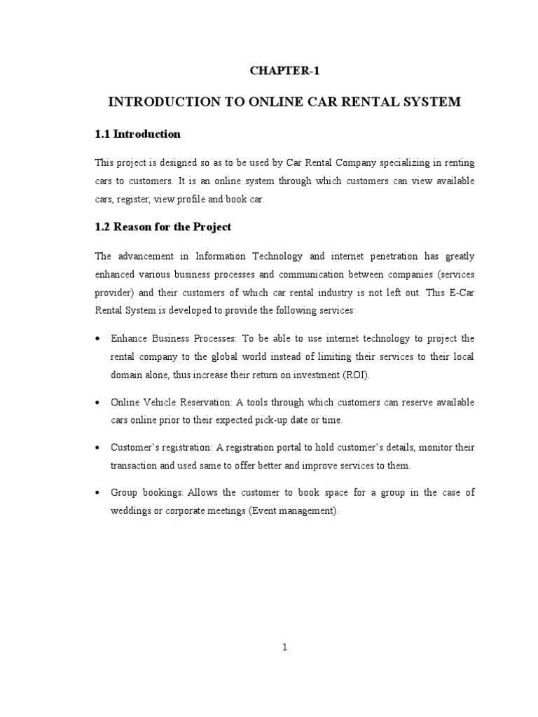 car rental system essay Chapter-1 introduction to online car rental system 11 introduction this project is designed so as to be used by car rental company specializing in renting.