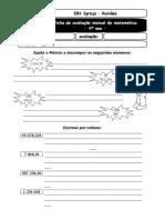Ficha de avaliação de matemática 4º ano - 1ª