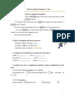 Ficha de conhecimento explícito da língua 2º ano - preparação teste intermédio