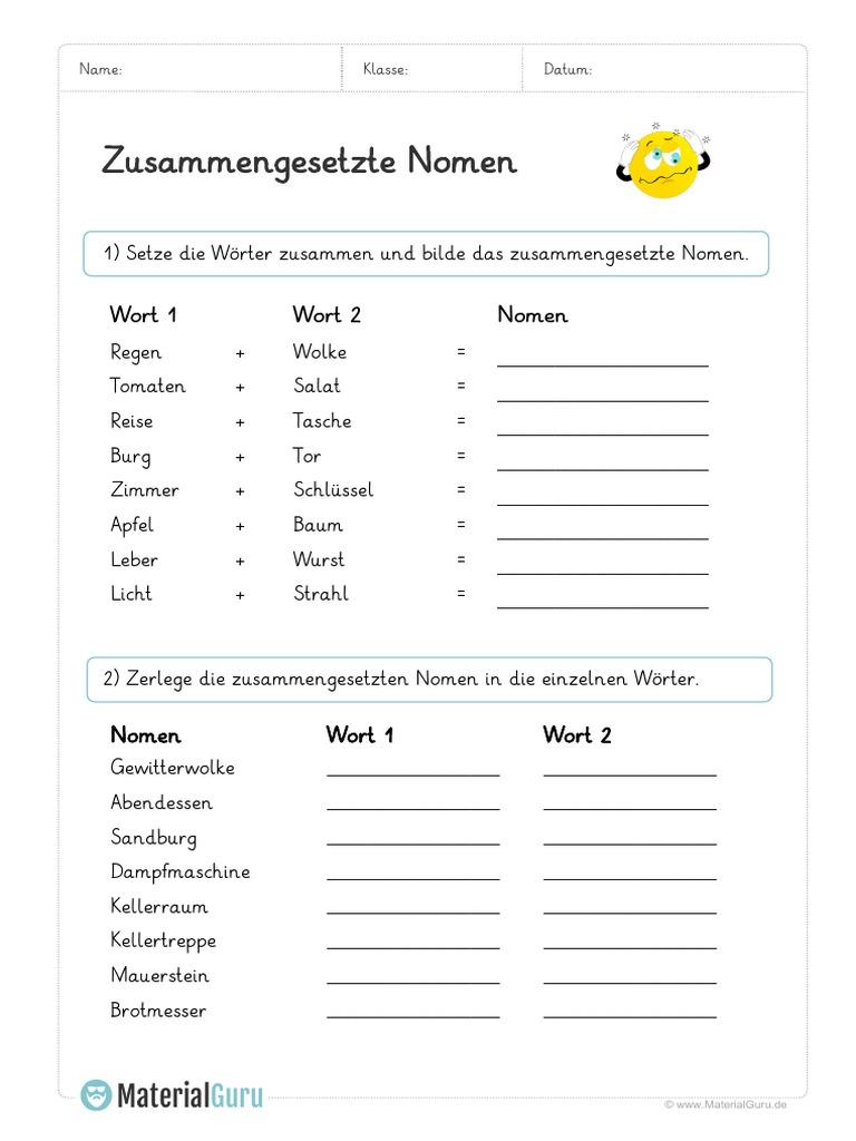 Arbeitsblatt Zusammengesetzte Nomen Bilden Zerlegen   PDF
