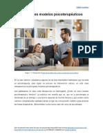 Principales modelos psicoterapéuticos