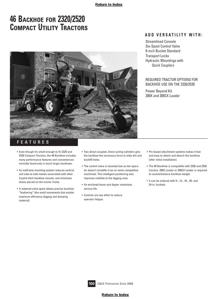 John Deere 46 Backhoe Brochure | Loader (Equipment) | Tractor