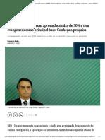 Bolsonaro aparece com aprovação abaixo de 30% e tem evangélicos como principal base. Conheça a pesquisa - Jornal O Globo