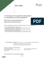A Comunicação Dos Requisitos de Desempenho Ao Consumidor Do Mercado Imobiliario