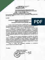 Raspuns Al SNTFC CFR Calatori SA